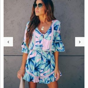 Mercier Palm Print Romper